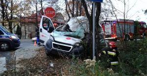[ZDJĘCIA] Kolizja na Bestwińskiej - dostawczak uderzył w drzewo