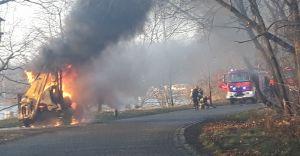 Na granicy Czechowic-Dziedzic i Goczałkowic spłonęła koparka